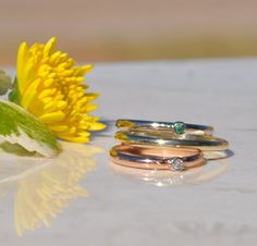 Birthstone Ring: Choose 14 kt white yellow rose by AurumBayJewelry Toe ring