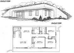 Eagle View Home Design Underground House Plans, Underground Homes, Cabin Design, House Design, Rammed Earth Homes, Group Home, Pole Barn Homes, Earthship, House Rooms