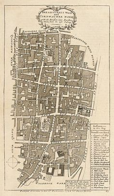 STOW, John. Breadstreet Ward and Cordwainer Ward. #antique #London #plan