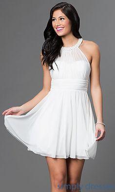 Speechless Short Chiffon Dress with Jeweled Neckline