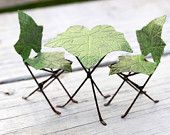 Fairy Garden Table and Chairs Furniture bistro set - miniature ivy leaf hand painted accessories for terrarium