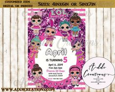 Lol Surprise Invitations, Customized Item, Lol Surprise Birthday Invitations Surprise Birthday Invitations, Birthday Invitation Templates, Digital Invitations, 5 April, Lol Dolls, Diy And Crafts, Kid Parties, Aurora, Prints