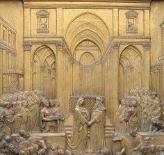 Ghiberti. Puerta del paraiso. Salomón y la reina de Saba. 1425-1452. Detalle