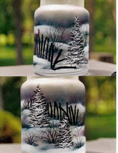 Pattern Packets - Holiday Hearth Warmer Mary Owens (these turned out awesome) - Picmia Glass Bottle Crafts, Wine Bottle Art, Painted Wine Bottles, Painted Jars, Painted Wine Glasses, Decorated Bottles, Painted Glass Blocks, Decorative Glass Blocks, Hand Painted