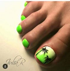 Here are the best Summer Toe Nail Design ideas for you. Keep your style game strong with Toe Nail designs for Summer. Best Summer Nail Art ideas are here. Neon Toe Nails, Summer Toe Nails, Toe Nail Art, My Nails, Glitter Nails, Green Nails, White Nails, Dark Nail Designs, Nailart