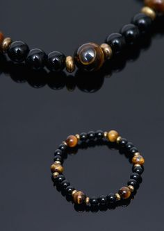 Accessories :: Bracelets :: Tiger Eye Onix Jupiter Beads-Bracelet 353 - Mens Fashion Clothing For An Attractive Guy Look