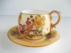 Antique Royal Worcester Blush Ivory Coffee Cup Saucer