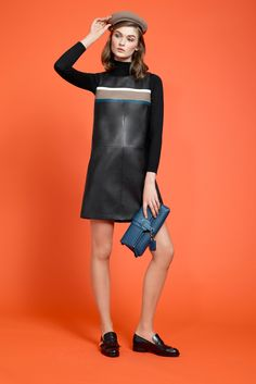 Paule Ka | Pre-Fall 2015 | 07 Black leather sleeveless mini dress with stripes detail and long sleeve sweater underneath