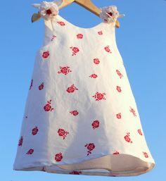 vestido lino blanco 4 años   vestido de verano niñas por pipocass, €32.00