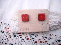 Square Wooden Dotty Earrings £3.99