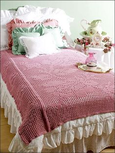 Crochet - Afghan & Throw Patterns - Lace, Filet & Pineapple Patterns - Bed of Roses Filet Throw