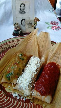 Fresh Corn Tamal with Cheese, green Chile and Jalapeño