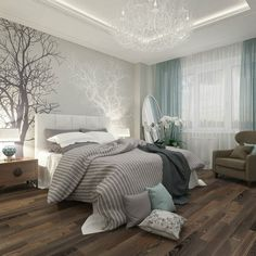 un papier peint gris à motifs d'arbres et une literie en blanc et gris Serene Bedroom, Blue Bedroom Decor, Bedroom Colors, Bedroom Colour Schemes Neutral, Romantic Master Bedroom Ideas, Rustic Grey Bedroom, Interior Colour Schemes, Colour Schemes For Living Room, Bedroom Ideas Grey