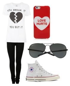 """""""Broken Heart"""" by fangirlmendes on Polyvore featuring Marc Jacobs, MM6 Maison Margiela, Zoe Karssen, Converse and Ray-Ban"""