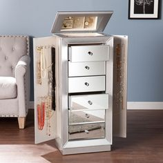 This Grand Jewelry Armoire Provides The Ultimate Glamorous Storage Option  For Your Valuables. Six Mirrored Drawers Effortlessly Store Your Makeup,  Large ...