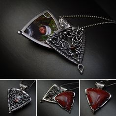 wire woven sliding locket pendant with prong set red jasper - made by Iza Malczyk Wire Pendant, Wire Wrapped Pendant, Wire Wrapped Jewelry, Wire Jewelry, Silver Jewelry, Handmade Jewelry, 3d Printing Diy, 3d Printed Jewelry, Wire Weaving