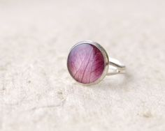 Real Petals Ring  purple handmade resin jewelry  by UralNature