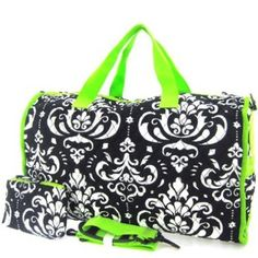 """Large 22"""" Damask Print Quilted Duffle Bag - You Choose Color"""