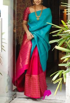 It's your big day, the day every woman we know would want to look her absolute best. The beauty and elegance of these sarees make woman choose these sarees over any wedding silk sarees collection. Indian Bridal Sarees, Wedding Silk Saree, Indian Silk Sarees, Soft Silk Sarees, Trendy Sarees, Stylish Sarees, Fancy Sarees, Seda Sari, Saris Indios