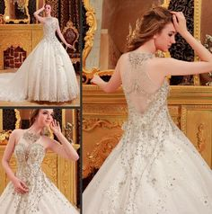 Ball Gown Sweetheart Long Train Luxury Real Sample Crystal Islamic Wedding Dress Bridal Gowns Free Shipping 60