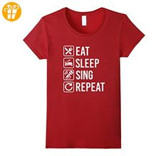 Sing Karaoke Eat Sleep Repeat T-Shirt Damen, Größe L Cranberry (*Partner-Link)