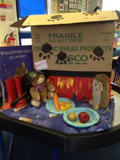 Whatever Next tuff spot for EYFS. Space Classroom, Eyfs Classroom, Classroom Displays, Jill Murphy, Peace At Last, Reading Areas, Reception Class, Story Sack, Tuff Spot