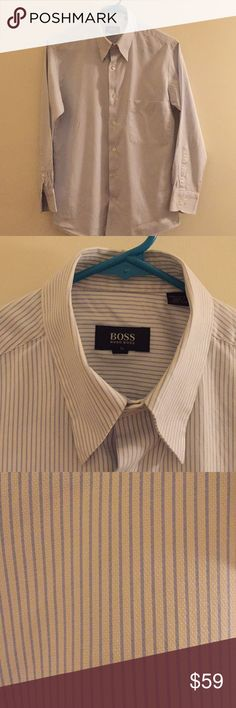 HUGO BOSS Men's office Shirt White and Blue pinstriped men's office shirt. Size 15 (  I.e 32/33). 100% cotton Hugo Boss Shirts Dress Shirts