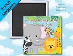Safari Animals Baby Shower Favor Magnets by Stuck Together Magnets, 10 magnets for $23.00