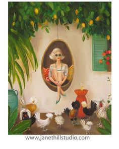 Etsy の Extraordinary Chickens. Art Print by janethillstudio