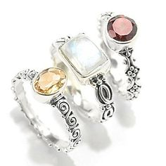 Offerings Sterling Silver Set of Three Gemstone Stack Band Rings
