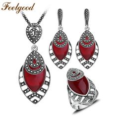 Feelgood Vintage Silver Color Antique Jewellery Sets Red Resin And Black Crystal Water Drop Fashion Jewelry Set For Women Gift