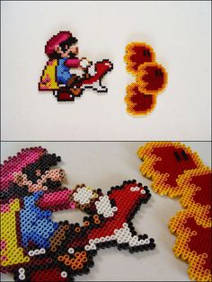 I've started to use these Perler beads to do pixel art. Super Mario World Mario on Red Yoshi breathing fire magnet. Melty Bead Patterns, Hama Beads Patterns, Beading Patterns, Perler Bead Designs, Perler Bead Mario, Perler Beads, Mario Yoshi, Pixel Art, Breathing Fire
