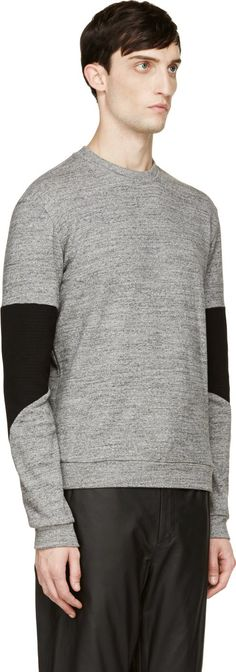Public School: Grey Accent Sleeves Sweatshirt | SSENSE