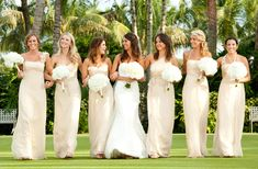 Champagne and White color scheme. So classic. Plus love the family of dresses ideas for the bridesmaids with different dresses but same color and fabric. Super cute!