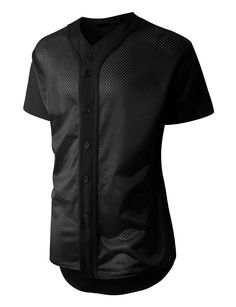 LE3NO Mens Short Sleeve Full Button Mesh Baseball Jersey