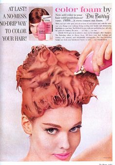 60s hair dye ad - bouffanted even with dye in!