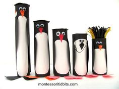 """Fun craft from Montessori Tidbits - these penguins are """"to scale"""" with their actual heights"""