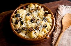 sicilian cauliflower and black olive gratin.