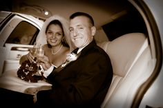 Champagne in the limo; Wedding; Red and White; Stars; Bride and Groom