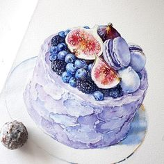 Illustration by @ola_mos | #IllustrationNow if you would like to be featured Cake Drawing, Food Drawing, Food Sketch, Watercolor Fruit, Watercolor Artists, Pastry Art, Food Painting, Cafe Art, Dessert Illustration