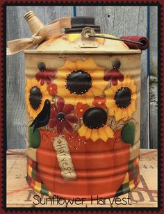 Tin Can Crafts, Fall Crafts, Halloween Crafts, Metal Crafts, Painted Milk Cans, Painted Metal, Painted Pots, Metal Tub, Primitive Painting