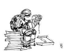 Teenage Mutant Ninja Turtles - Double-fisting Pizza by Skottie Young *