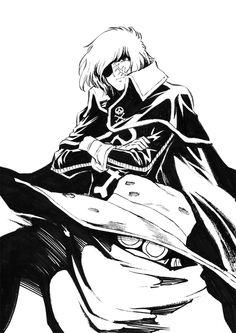 Harlock and Tochiro ink drawing