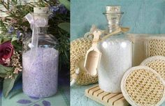 Bath Salts In Clear Apothecary Bottles