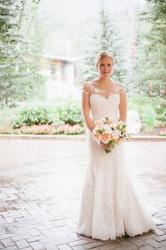 Amazing lace gown with illusion neckline from Stanley Korshak in Dallas