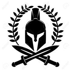 Illustration of Spartan helmet. vector art, clipart and stock vectors. New Tattoos, Body Art Tattoos, Tattoos For Guys, Tatoos, Sketch Tattoo Design, Tattoo Sketches, Tattoo Designs, Spartanischer Helm, Helm Tattoo