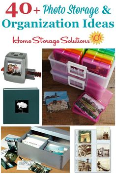 Over 40 photo storage and organization ideas you can use in your home, including. - Over 40 photo storage and organization ideas you can use in your home, including for archival quali - Organisation Hacks, Storage Hacks, Office Organization, Craft Storage, Food Storage, Storage Ideas, Picture Storage, Photo Storage Boxes, Photo Album Storage