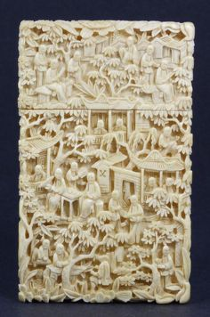 CHINESE CARVED IVORY VILLAGE SCENE CARD CASE Chinese hand carved ivory card case. Has incredibly intricate relief carved busy marketplace and port scene. Stunning detail and quality.