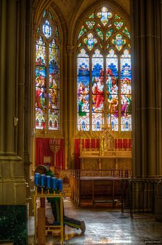 St. Mary's Basilica Roman Catholic Church in Covington, KY - the north transept window is the world's largest church stained glass window, measuring 67 feet in length by 24 feet wide. It presents the early fifth century Ecumenical Council of Ephesus that proclaimed Mary as the Mother of God.