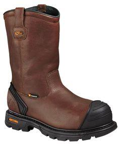 f2b61b7127fc Thorogood Mens Boots Brown Leather Safety Toe Waterproof Wellington